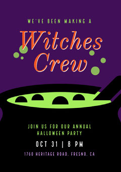 Witches Crew Halloween Party Invitation Halloween Party Invitation