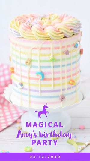 Pink and White Girl Birthday Snapchat Geofilter Unicorn Birthday Card