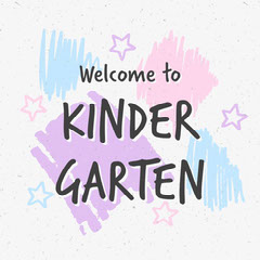 Blue Pink and Purple Welcome to Kindergarten Instagram Square Welcome Poster