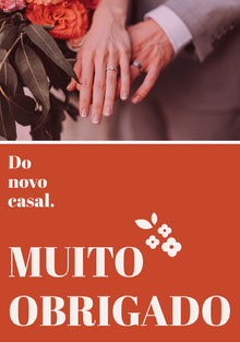 orange floral wedding thank you cards  Cartão Obrigado pela presença