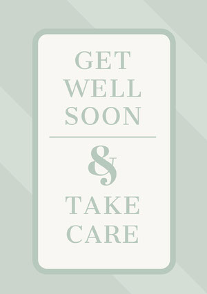 Gray Elegant Striped Get Well Soon Card God bedring-kort