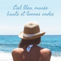 blue ocean girl beach - instagram square