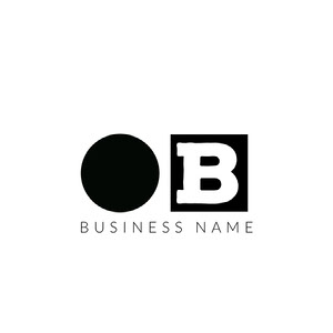 Black and White Business Logo with Square and Circle Name Logo