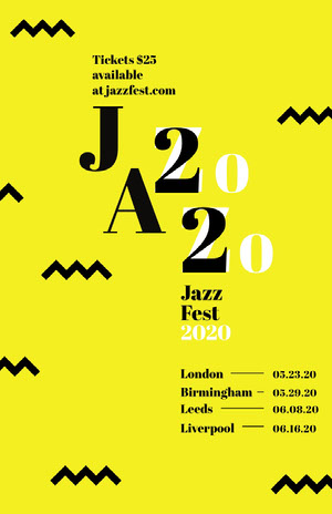 Yellow Zig Zag Jazz Music Festival Poster Concert Poster