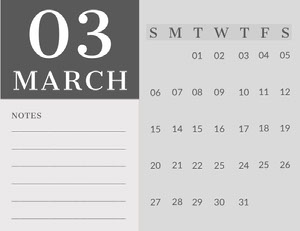 Gray March Calendar with Notes Kalenterit