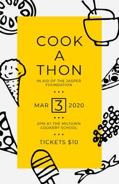 Illustrated Yellow and Black Charity Cooking Event Flyer Fundraiser