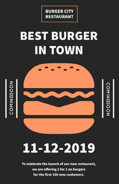 Beige and Black Bar Flyer Burger