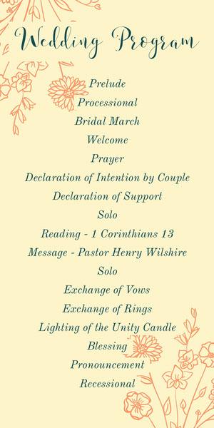 Yellow Elegant Floral Calligraphy Wedding Program Programa de bodas