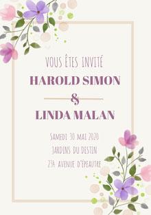 cream and purple floral wedding cards  Carte de remerciement de mariage