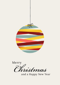 Multicolored Christmas Bauble Merry Christmas Calligraphy Card Christmas