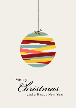 Multicolored Christmas Bauble Merry Christmas Calligraphy Card Kerstkaart