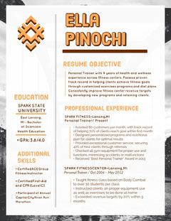 Orange Personal Trainer Resume Fitness