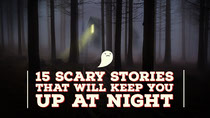 Scary Stories Youtube Thumbnail with Dark Forest and Ghost Scary