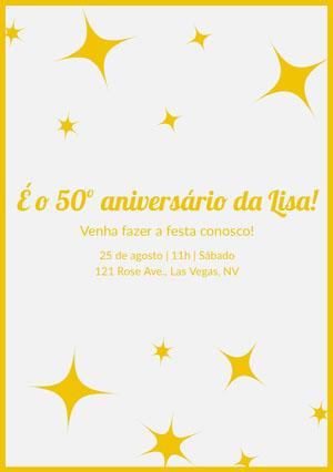 É o 50º aniversário da Lisa!  Convite de aniversário