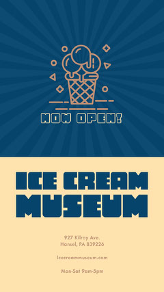 Yellow and Blue Illustrated Ice Cream Museum Opening Instagram Story Ad Ice Cream Social Flyer
