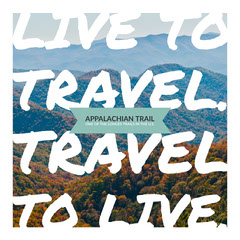 Appalachian Hiking Trail Square Instagram Social Post Graphic with Mountain Scenery Hike