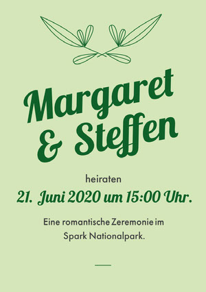green and park wedding invitations  E-Mail-Einladung
