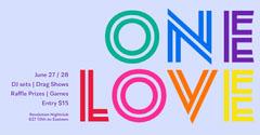 Colorful Typographic One Love Pride Nightclub Event Instagram Landscape Rainbow