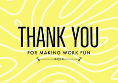 Yellow, White and Black Thank You Farewell Card Farewell