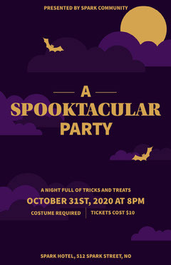 Halloween Spooktacular Party Bat Poster Party
