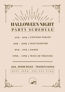 Halloween Night Party Schedule 行程表