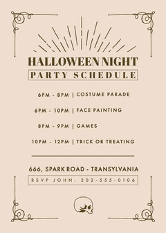 Halloween Night Party Schedule Halloween Party Schedule