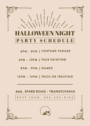 Beige and Gold, Light Toned, Halloween Party Schedule Card Agenda