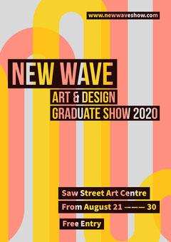 Coral & Yellow Wave Icon A4 Poster Art Exhibition