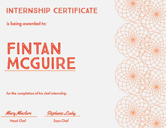 Orange Pattern Chef Internship Certificate Cooking