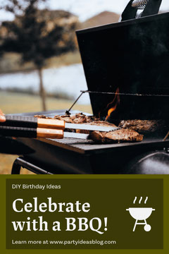 Green Barbecue Party Ideas Pinterest Graphic with BBQ Grill Photo Celebration