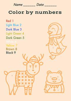 Orange Colour By Numbers Worksheet A4 Kids