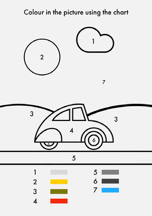 Black and White Coloring Worksheet with Car Arbeitsblatt für die Vorschule