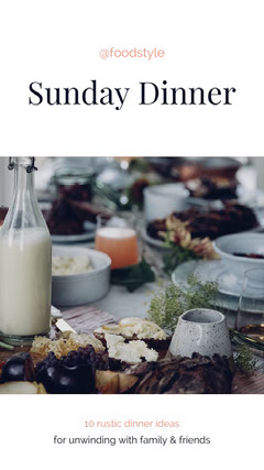 White Rustic Sunday Dinner Ideas Pinterest Graphic with Food Photograph Sunday