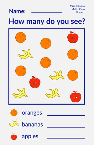 Blue Orange Yellow Red Fruit Counting Worksheet Poster Counting Worksheet