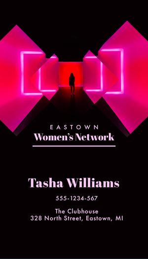 Pink Neon Women's Network Business Card Business Card