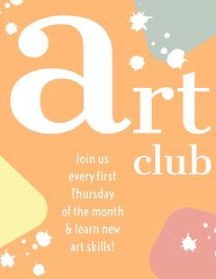 Orange Art School Club Flyer with Paint Splash Paint