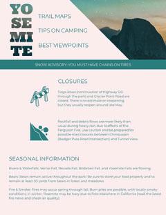 Turquoise Yosemite Travel and Hiking Newsletter Graphic California
