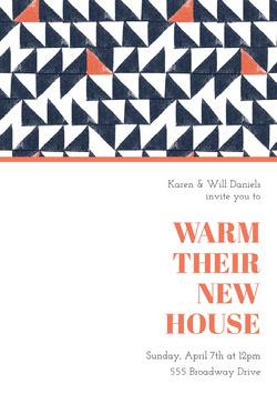 Orange and Blue Geometric Pattern Housewarming Party Invitation Card Housewarming Invitation