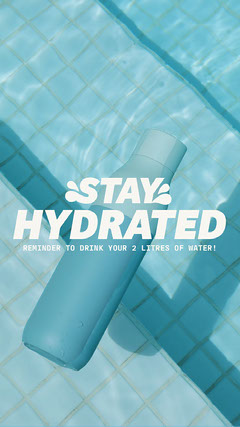 Pool Bottle Stay Hydrated Instagram Story Health Poster