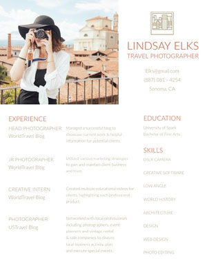 Brown Photographer Resume with Woman with Camera Resume  Examples