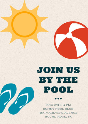 Colorful Illustrated Pool Party Invitation Card Pool Party Invitation