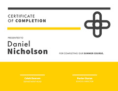 Summer Course Certificate of Completion Yellow