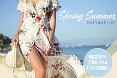 Blue Summer Floral Fashion Postcard Dress
