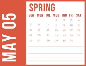 Red May Spring Calendar Calendrier
