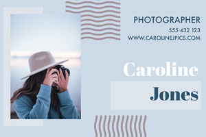 Blue Freelance Photographer Business Card Tarjeta de visita