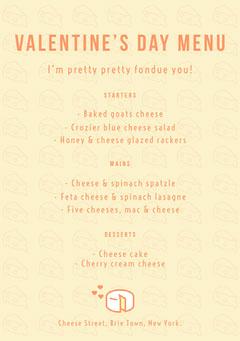 Yellow Cheese Valentine's Day Menu Cheese