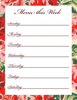 Floral Calligraphy Weekly Meal Planner Menu de la semaine