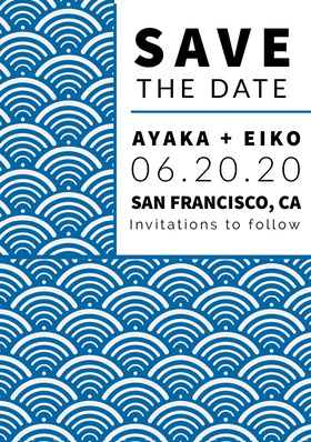 Blue Save the Date Wedding Card with Pattern Partecipazione