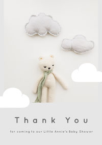 Grey and Teddy Bear Thank You Card doccia per bambini