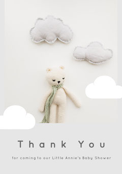 Grey and Teddy Bear Thank You Card Baby Shower